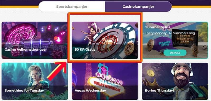 casino med 50 kroner gratis bonus