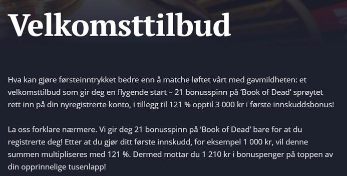 21 casino bonus eksempel
