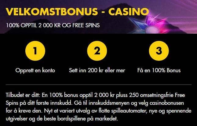 Eksempel på innskuddsbonus - Bethard casino
