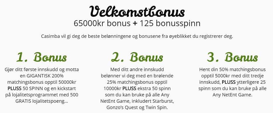 casimba casino bonuser