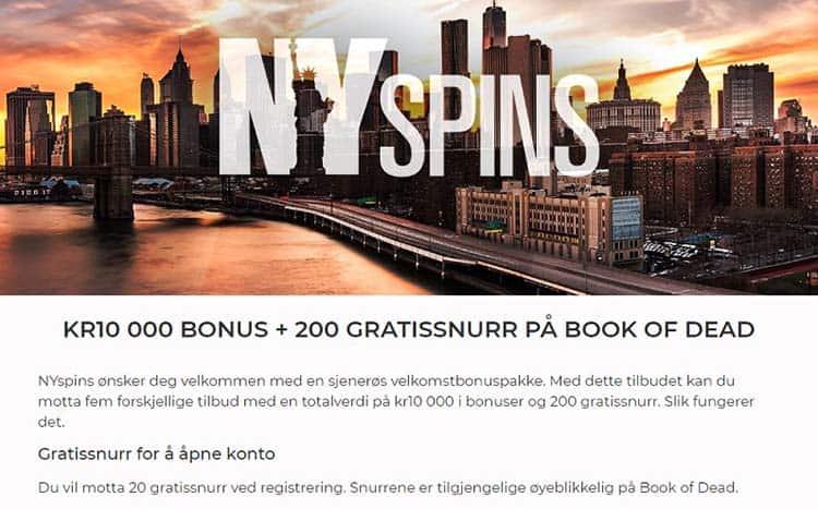 ny spins bonuser